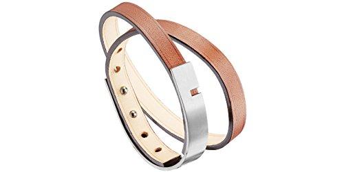 Ursul Bracelet femme U-Turn Twice, cuir de vachette, acier brossé, brun, M