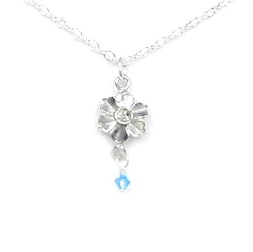 (December Flower Narcissus Necklace with Birthstone Colored Crystal - Gift Packaged - Handcrafted Pewter Made in USA)