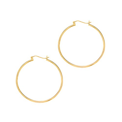 14Kt Yellow Gold Shiny Round Tube Hoop Fancy Earring with Hinged Clasp (1.5x25mm)
