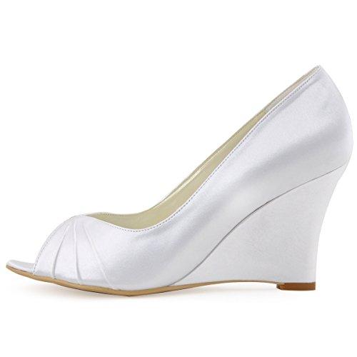ElegantPark Satin de Escarpins bal mariee Compense Femme mariage Bout Chaussures EP2009 Blanc ouvert r8SqIr