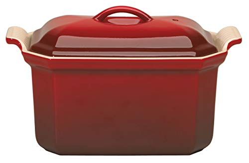 (Le Creuset Heritage Stoneware 3/4-Quart Pate Terrine with Press, Cerise (Cherry Red))