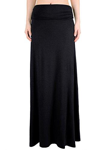 Leggingsqueen Women's High Waisted Fold Over Maxi Skirt