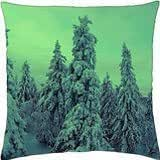 trees snow winter green light - Throw Pillow Cover Case (18
