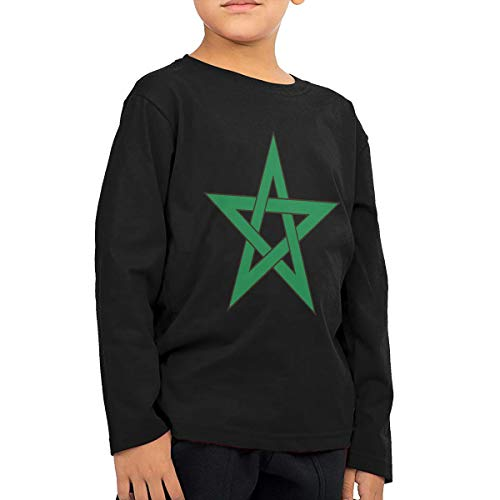 HIGASQ Unisex Baby Morocco Flag Toddler's Long Sleeve Round Neck Casual Pullover T Shirt for Kid (Boys Girls) Black ()