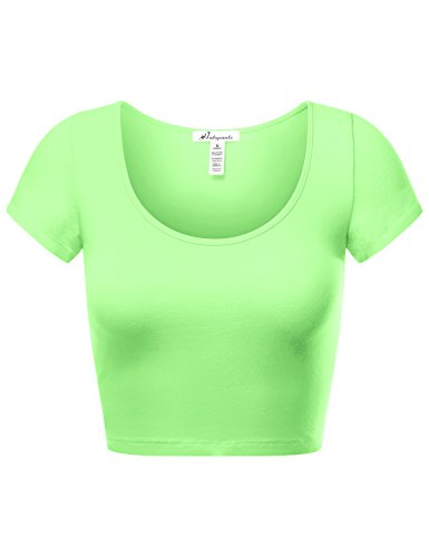 Fitted Short Sleeve Camisole - HATOPANTS Women's Cotton Basic Scoop Neck Crop Short Sleeve Tops
