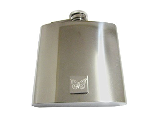Silver Toned Etched Simple Butterfly Bug 6 Oz. Stainless Steel Flask Etched Butterfly Pendant