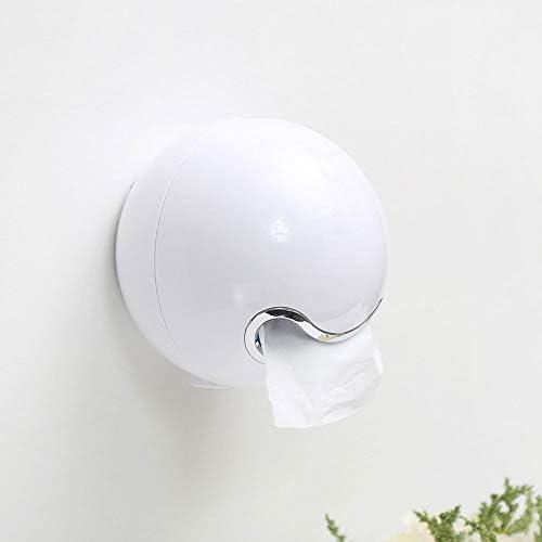SDF25 クリエイティブマジックボールトイレットペーパーホルダー、ウォールマウント、春ロック、バスルームキッチン用接着剤ティッシュボックスカバーと北欧スタンドのトイレットペーパーディスペンサー (Color : White)