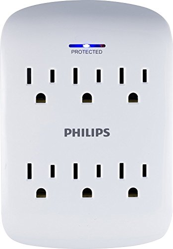 Philips 6 Outlet Surge Protector Outlet Adapter, Wall Tap Po