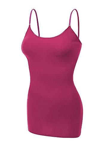 (Emmalise Women's Basic Casual Long Camisole Cami Top Regular and Plus Sizes, Magenta, XX-Large)