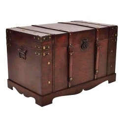 Merveilleux VidaXL Vintage Large Wooden Treasure Chest Mocha Brown Pirate Storage Trunk