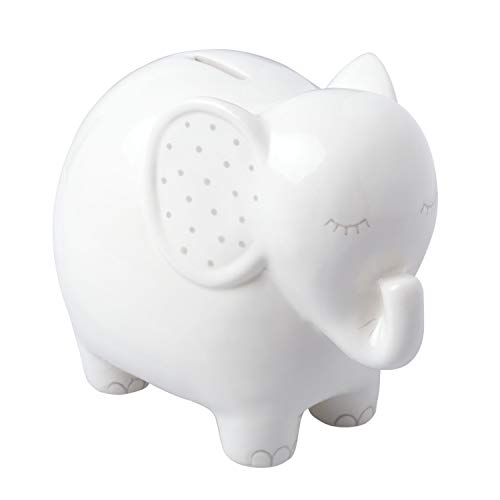 Pearhead Ceramic Elephant Bank, Unique Baby Gift, Nursery Décor, Keepsake, or Savings Toy Bank for Kids,