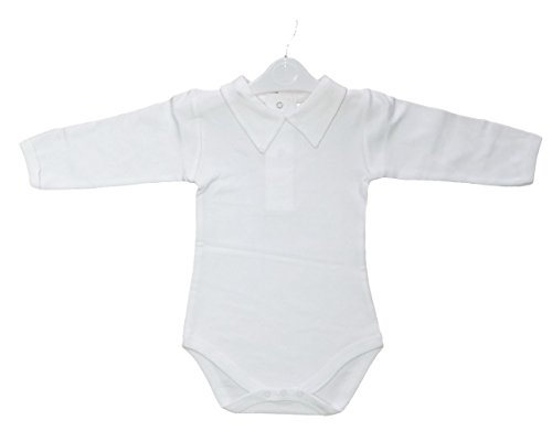 CARLINO Baby Polo Collared Cotton Bodysuit - Long Sleeve, Extra Soft, 6 Colors Available