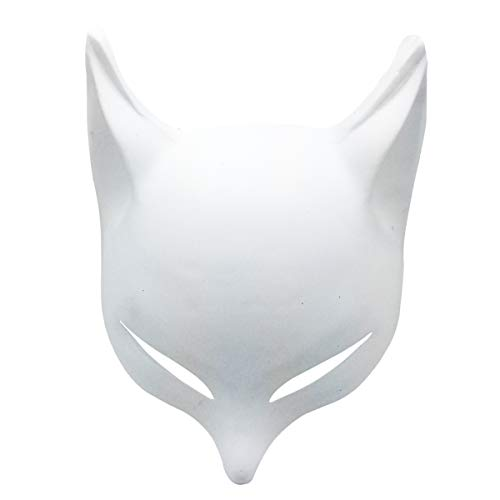 YangYong Large Fox Mask for Adults and Kids, Japanese Kabuki Kitsune Masks for Men Women Cosplay (White(DIY))]()
