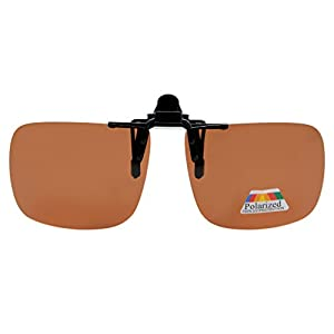 Eyekepper Square Flip up Polarized Clip-on Sunglasses Brown