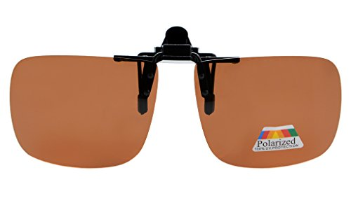 Eyekepper Square Flip up Polarized Clip-on Sunglasses Brown