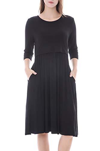 Smallshow Nursing Dresses 3/4 Sleeve Maternity Breastfeeding Dress for Women