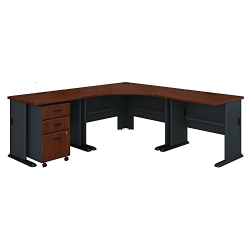 Bush Business Furniture Series A 84W x 84D Corner Desk with Mobile File Cabinet in Hansen Cherry and ()