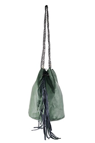 in in GIULIA Vert Cuero BORDERLINE Made Bucket Femme 100 Italy Sac qOaESO