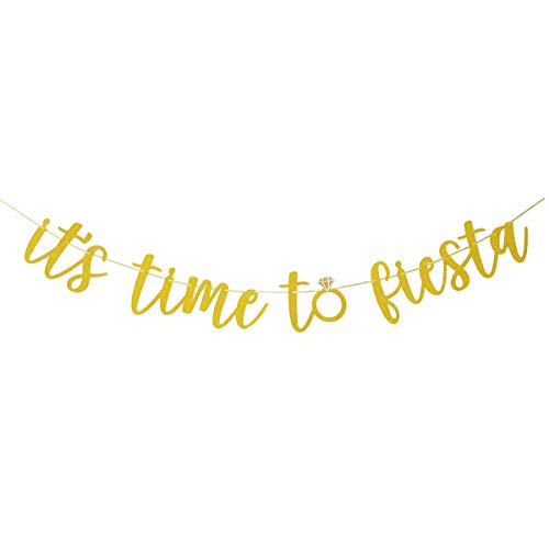 (Glamoncha It's Time to Fiesta Gold Glitter Banner Sign Garland for Mexican Fiesta Party Bridal Shower Bachelorette Party Decorations)