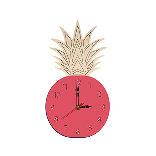 (Vosarea Wall Clock,Pineapple Shape Fruit Acrylic Watch Clock Silent DIY Clock for Children's Room Living Room Bedroom(Pink/Without Battery))