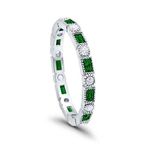 Blue Apple Co. 3mm Art Deco Full Eternity Wedding Band Baguette Simulated Emerald Round Cubic Zirconia 925 Sterling Silver, Size-6