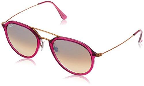 Ray-Ban Injected Unisex Non-Polarized Iridium Square Sunglasses, Shiny Fuxia, 53 - Pink Polarized Ban Ray