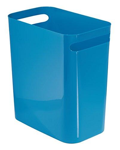 MDesign Wastebasket Trash Can For Office, Kitchen, Bathroom   12u0026quot;, Blue