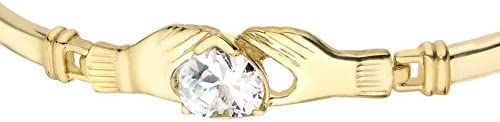 Carissima Gold Women's 9 ct Yellow Gold Claddagh and Heart Cubic Zirconia Detail Bangle