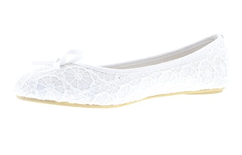 Gold Toe Women's Lauren Floral Lace Knit Ballet Flats with Arch Support and Accent Bow (9, White Bridal) (Womens Flat Dress Shoes)