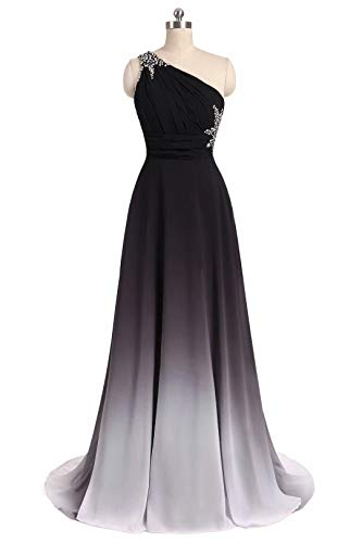 2ae7746e916af ANGELA One Shoulder Ombre Long Evening Prom Dresses Chiffon Wedding Party  Gowns Black White 18 Plus
