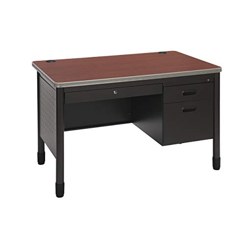 OFM Mesa Series Steel Teacher's Desk with Laminate Top, 3-Drawer Single Pedestal, in Cherry (66348-CHY) ()