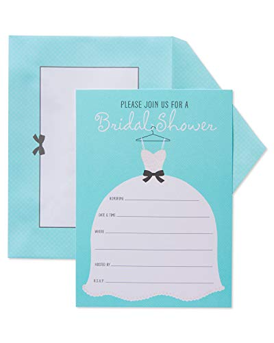 American Greetings Glitter Wedding Dress Bridal Shower Invitations and Aqua Dotted Envelopes, 20-Count
