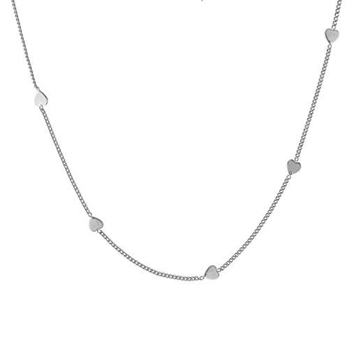 Simple Hearts Necklace, rhodium overlay