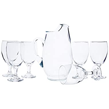 Libbey 7 piece Carolina set includes one 90 ounce pitcher and 6 16 ounce footed goblets.
