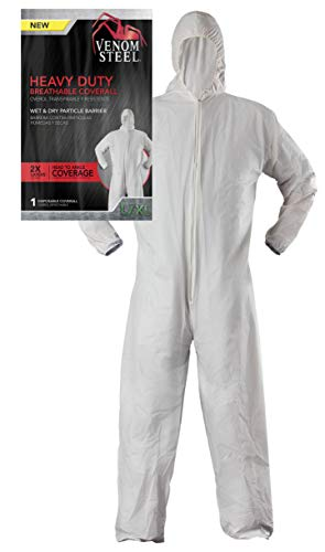 Venom Steel Disposable Heavy Duty Breathable Coverall, Disposable Coverall is Hooded with Elastic Wrist and Ankles, L/XL, White