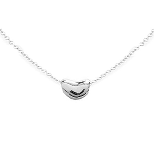 Sterling Silver Kidney Bean Pendant Charm Necklace 18 Inches - Bean Pendant