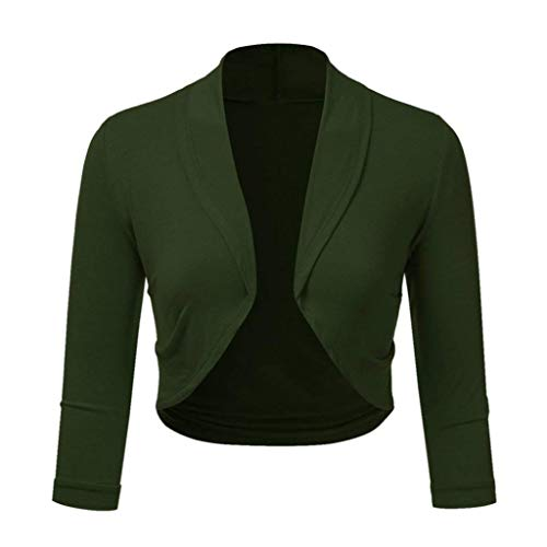 Realdo Womens Bolero Clearance Sale, Solid Shrug Open Front Mini Crop Top Office Work Cardigan(X-Large,Green)