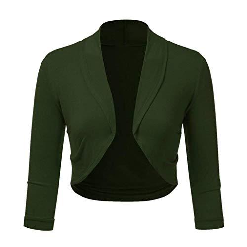 Realdo Womens Bolero Clearance Sale, Solid Shrug Open Front Mini Crop Top Office Work Cardigan(X-Large,Green) -