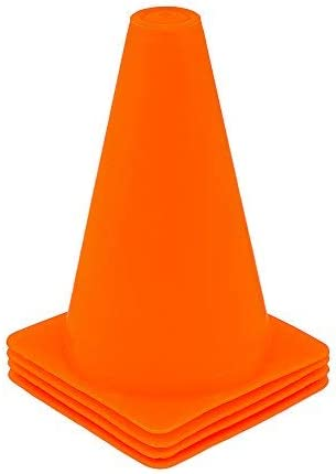 Fitness Health FH Marker Saucer Cones Set of 4   Traffic Cone Marking Play Football   Rugby Hockey Team   Sports Speed Training Agility Drills   (Orange, 6)