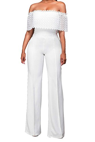 Womens Sexy Off Shoulder Long Pants Wide Leg Jumpsuits Rompers Clubwear L White (Sexy Pants Suits)