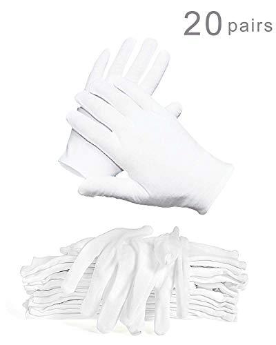 WTSHOP 20 Pairs Thick White Working Glove(XL),Lightweight Soft Protective Working Glove,White Cotton Gloves Work Gloves for Ceremony ()
