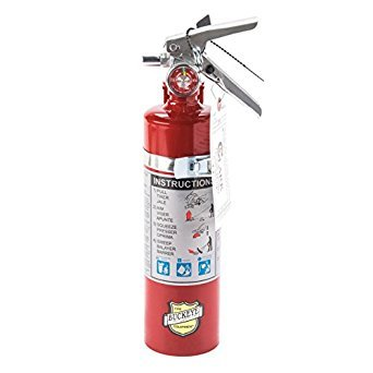 "Buckeye 10914 ABC Multipurpose Dry Chemical Hand Held Fire Extinguisher with Aluminum Valve and Wall Hook, 5 lbs Agent Capacity, 3-3/8"" Diameter x 7-1/4"" Width x 16-3/8"" Height"