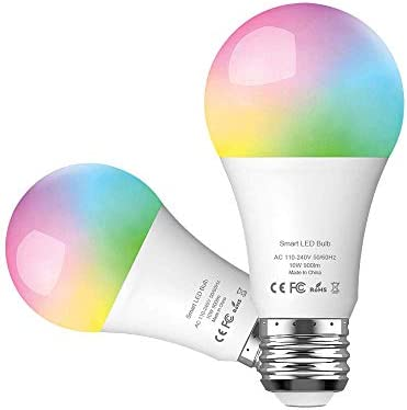 WANNAP Smart LED Light Bulb 2.4G Not 5G E26 WiFi Multicolor Light Bulb Work with Alexa,Siri, Echo, Google Home No Hub Required , 10W White 2W RGB Equivalent RGBCW Color Changing Bulb 2 Pack