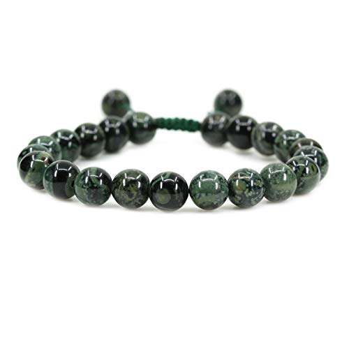 AMANDASTONES Natural Kambaba Jasper Gemstone 8mm Round Beads Adjustable Braided Macrame Tassels Chakra Reiki Bracelets 7-9 inch ()