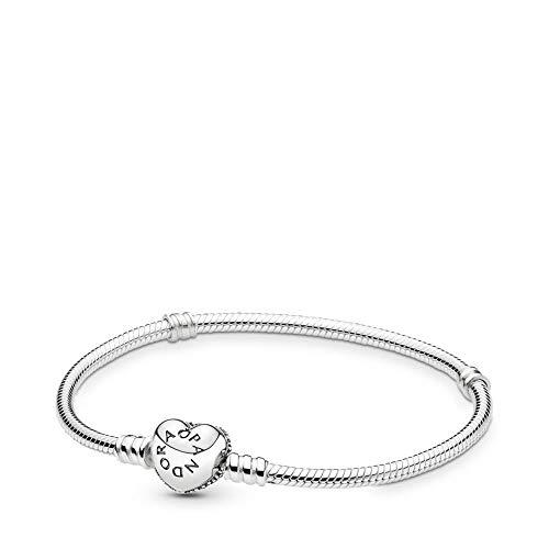 Pandora Pav Heart Bracelet, Sterling Silver, Clear Cubic Zirconia, 9.1 in