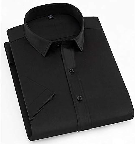 IYFBXl Camisa de Trabajo para Hombres - Cuello Alto de Color sólido/Manga Corta, Negro, 38: Amazon.es: Deportes y aire libre