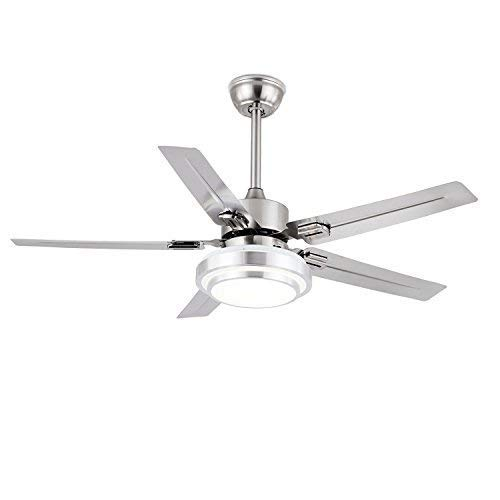 FXY Modern 52 inch LED Ceiling Fan with 3-Color Changing Lights & Remote Control 5 Stainless Blades Reversible Ceiling Fan with Sloped Ceiling Kit for Living Room Lofts Gym Kitchen, Brushed Nickel