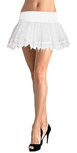 (Mid-Length Teardrop Lace Petticoat Adult Costume Accessory White - One Size)