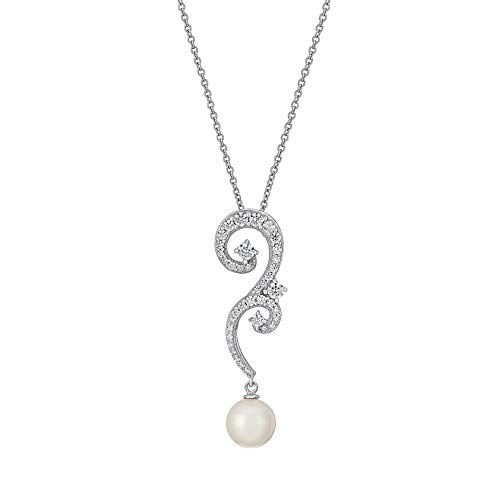 - J'ADMIRE 1.7 Carats Swarovski Zirconia Freshwater Cultured Pearl Spiral Pendant Necklace, Platinum Plated Sterling Silver
