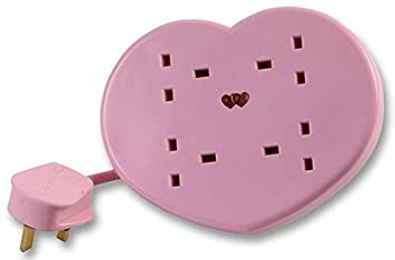 Pink Heart Shaped 4 gang socket Extension Lead 2m